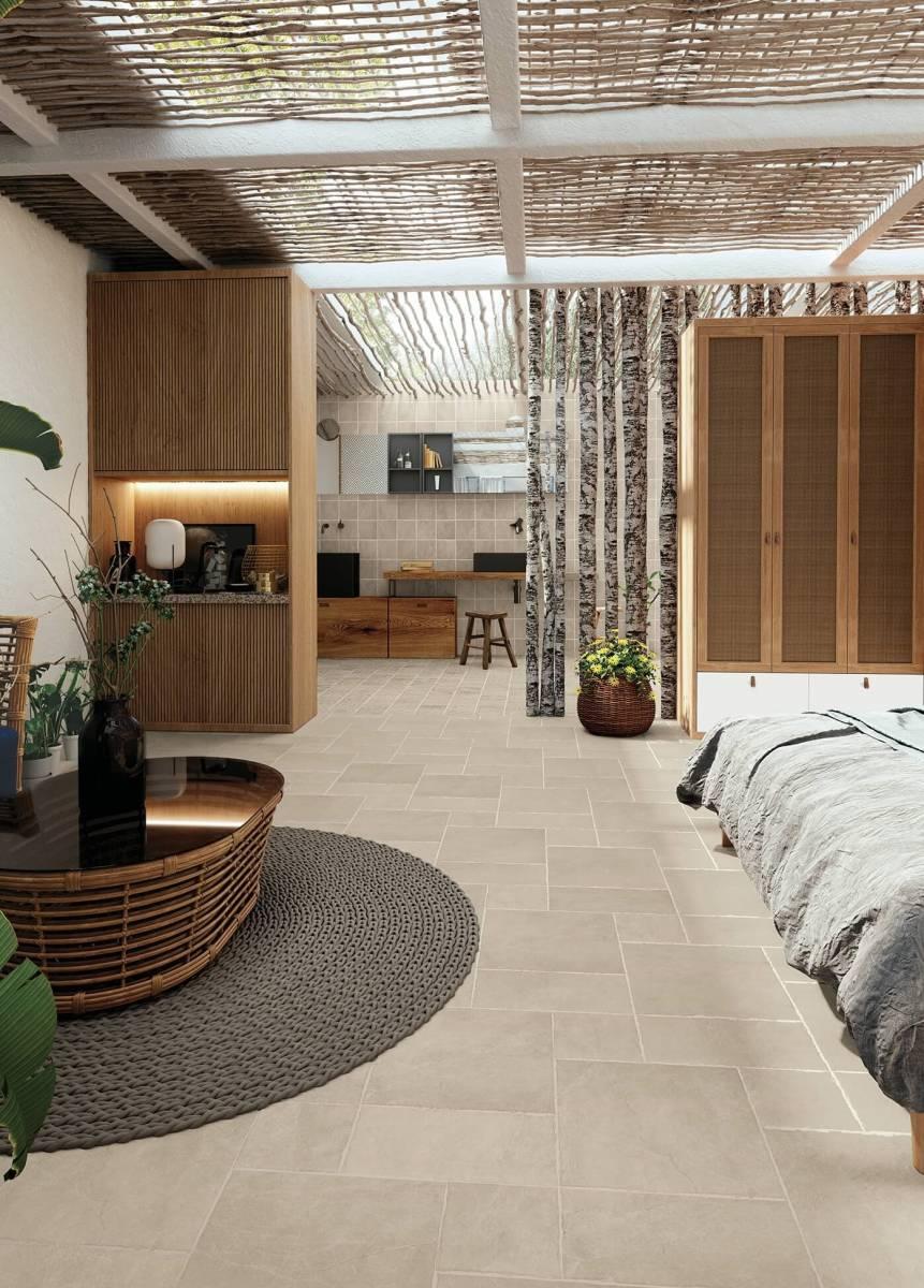 Acheter du carrelage intérieur imitation pierre naturelle sable pour le sol et l' escalier d'une ...